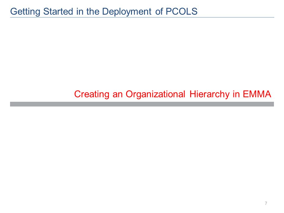 Creating an Organizational Hierarchy in EMMA Getting Started in the Deployment of PCOLS 7