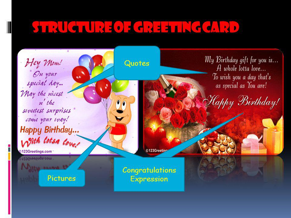 Structure of Greeting card Congratulations Expression Quotes Pictures