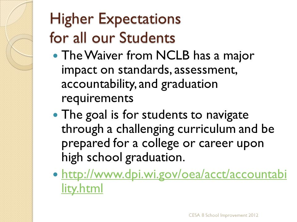 Higher Expectations for all our Students The Waiver from NCLB has a major impact on standards, assessment, accountability, and graduation requirements