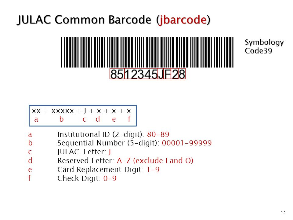 12 JULAC Common Barcode (jbarcode) aInstitutional ID (2-digit): 80-89 bSequential Number (5-digit): 00001-99999 cJULAC Letter: J dReserved Letter: A-Z (exclude I and O) eCard Replacement Digit: 1-9 fCheck Digit: 0-9 xx + xxxxx + J + x + x + x a b c d e f Symbology Code39
