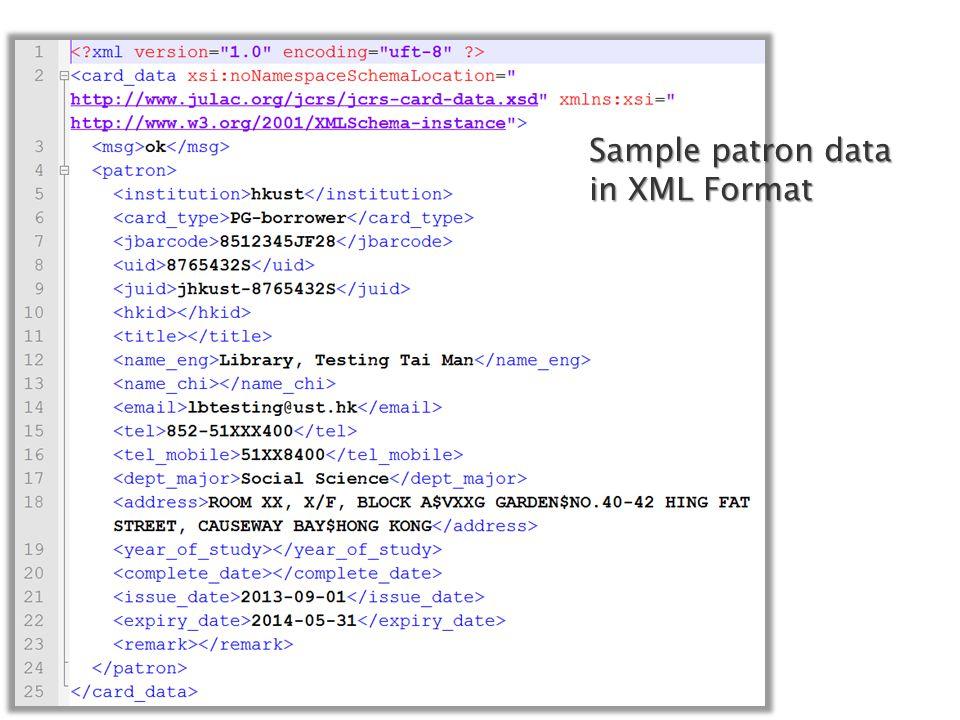 Sample patron data in XML Format