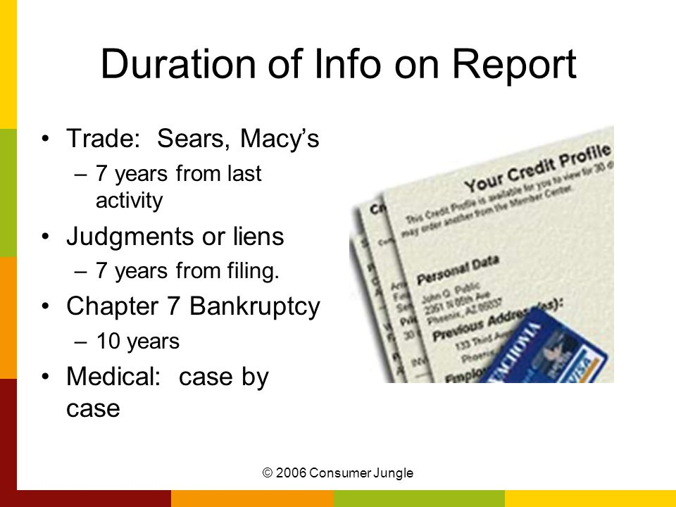 © 2006 Consumer Jungle Duration of Info on Report Trade: Sears, Macys –7 years from last activity Judgments or liens –7 years from filing.