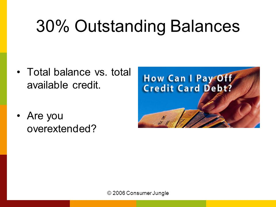 © 2006 Consumer Jungle 30% Outstanding Balances Total balance vs.