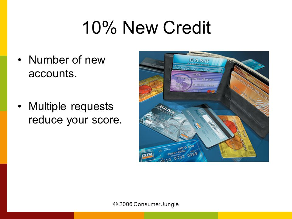 © 2006 Consumer Jungle 10% Types of Credit Mix of: –Revolving Credit Credit cards –Installment Credit Car loan Home loan