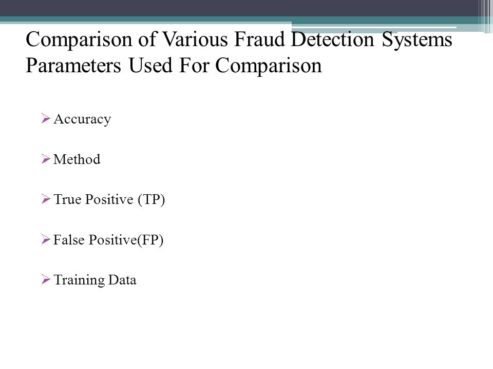 Comparison of Various Fraud Detection Systems Parameters Used For Comparison Accuracy Method True Positive (TP) False Positive(FP) Training Data