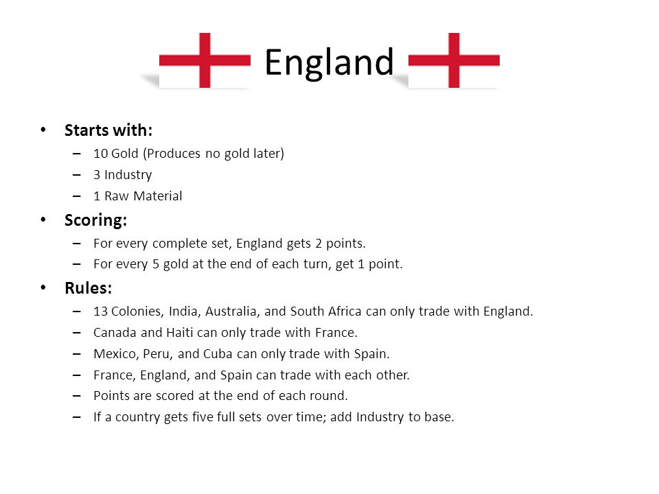 England Starts with: – 10 Gold (Produces no gold later) – 3 Industry – 1 Raw Material Scoring: – For every complete set, England gets 2 points. – For
