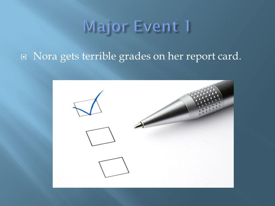 Nora gets terrible grades on her report card.