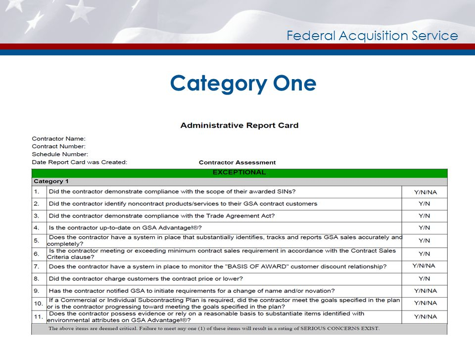 Federal Acquisition Service Category One