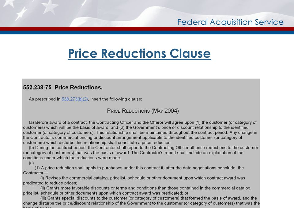 Federal Acquisition Service Price Reductions Clause