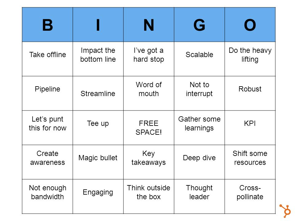 BINGO Take offline Impact the bottom line Ive got a hard stop Scalable Do the heavy lifting Pipeline Streamline Word of mouth Not to interrupt Robust