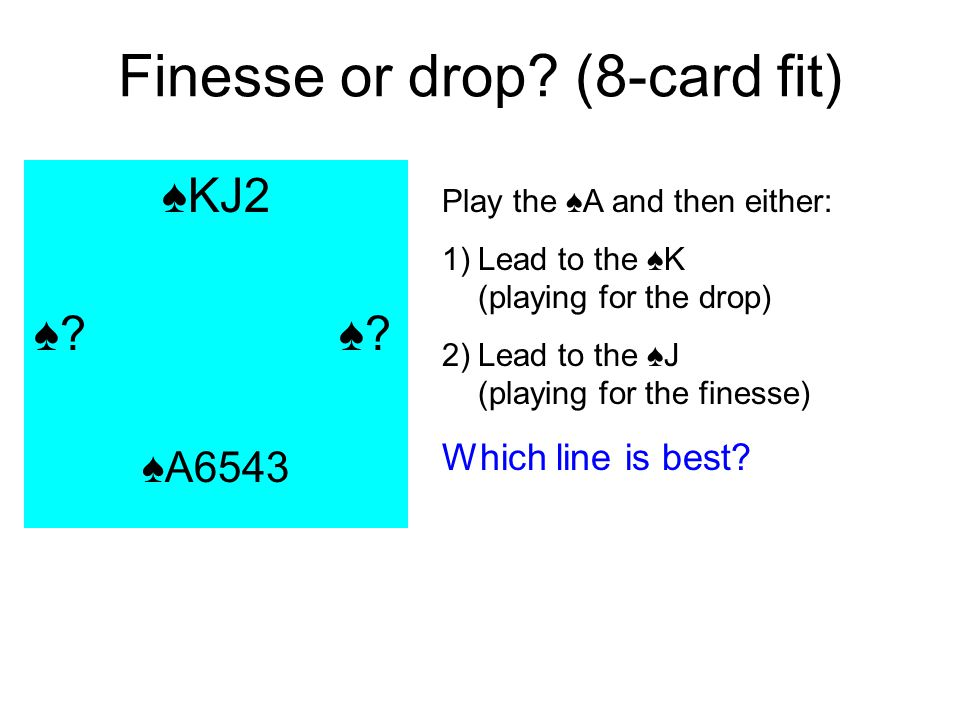 Finesse or drop? (8-card fit) KJ2 ? A6543 Play the A and then either: 1)Lead to the K (playing for the drop) 2)Lead to the J (playing for the finesse)