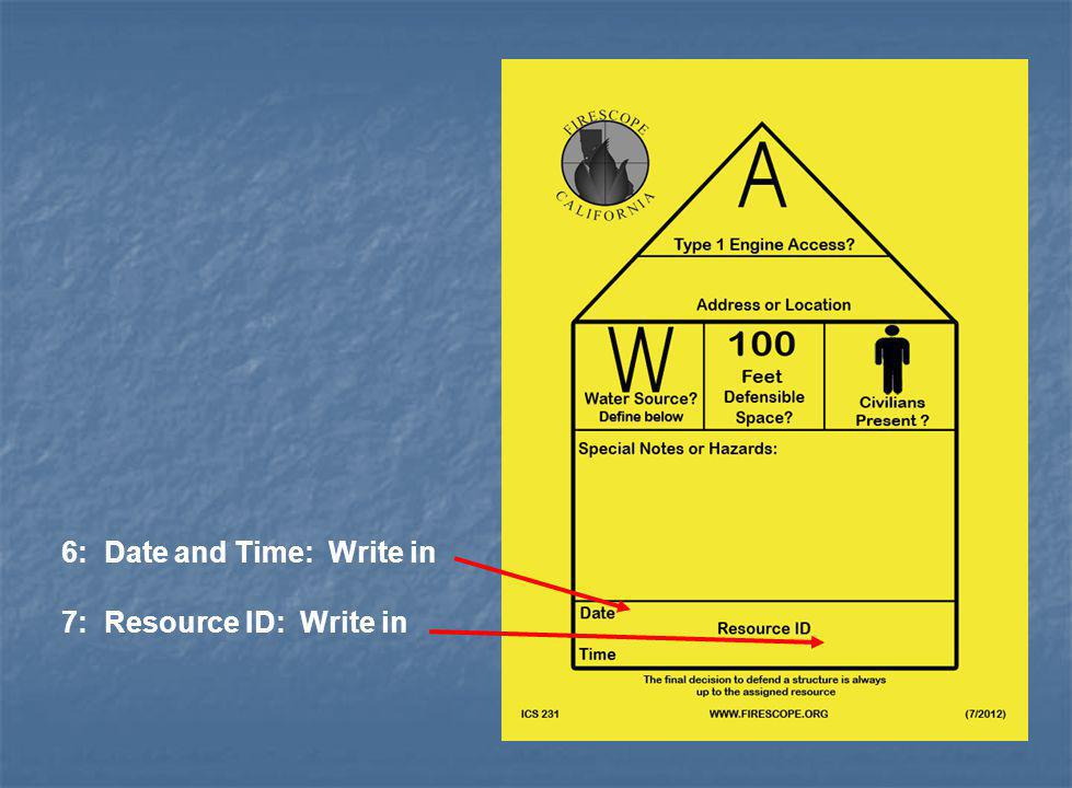 6: Date and Time: Write in 7: Resource ID: Write in