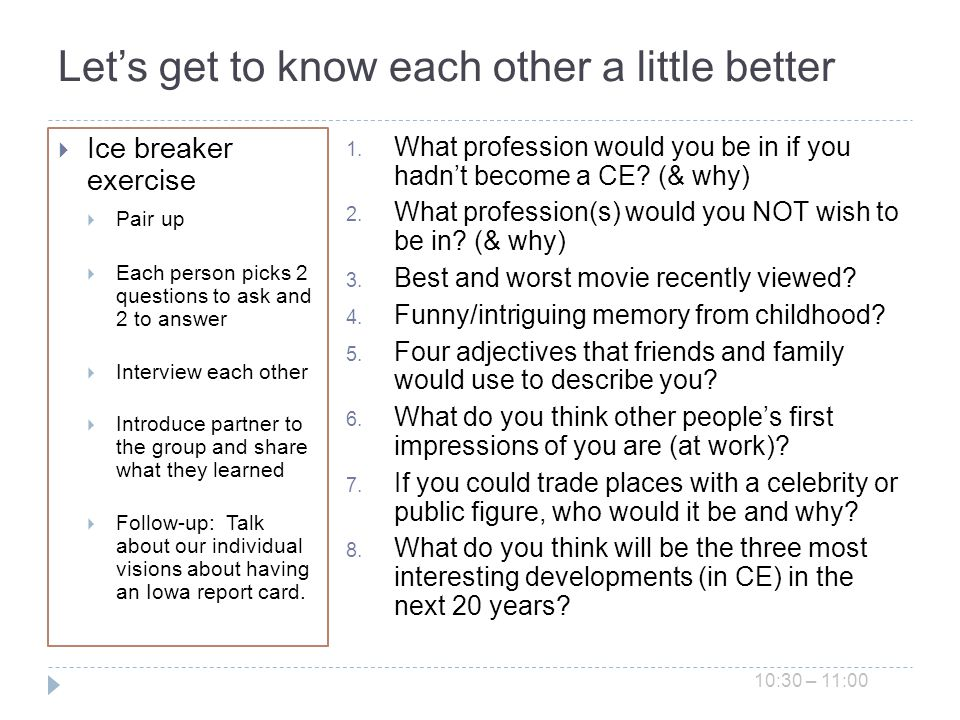 Lets get to know each other a little better Ice breaker exercise Pair up Each person picks 2 questions to ask and 2 to answer Interview each other Introduce partner to the group and share what they learned Follow-up: Talk about our individual visions about having an Iowa report card.