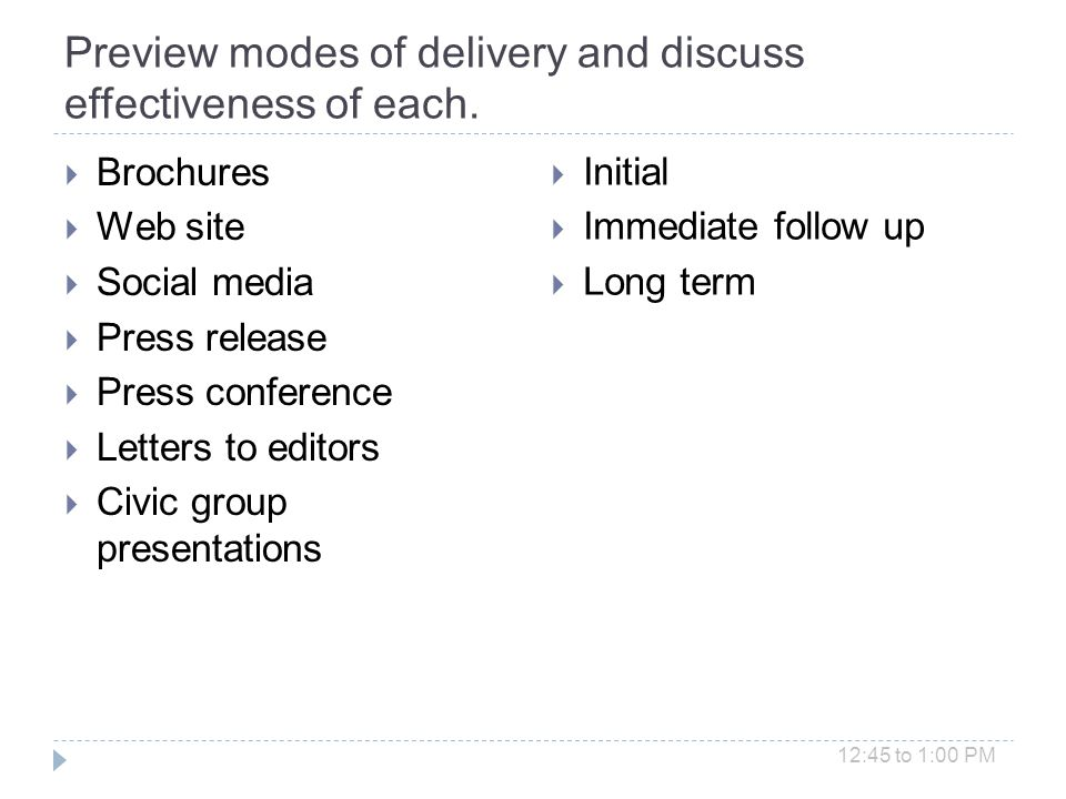 Preview modes of delivery and discuss effectiveness of each.