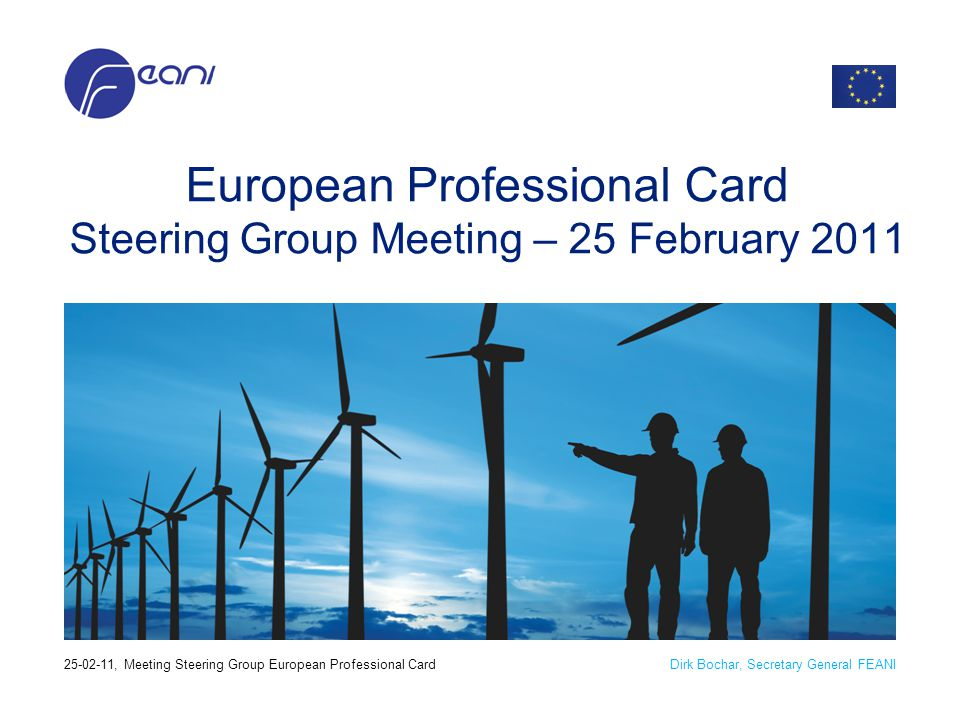 Dirk Bochar, Secretary General FEANI25-02-11, Meeting Steering Group European Professional Card European Professional Card Steering Group Meeting – 25
