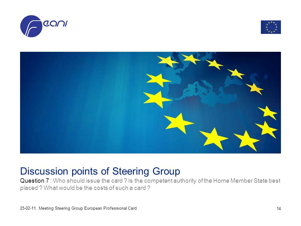 Discussion points of Steering Group Question 7 : Who should issue the card ? Is the competent authority of the Home Member State best placed ? What wo