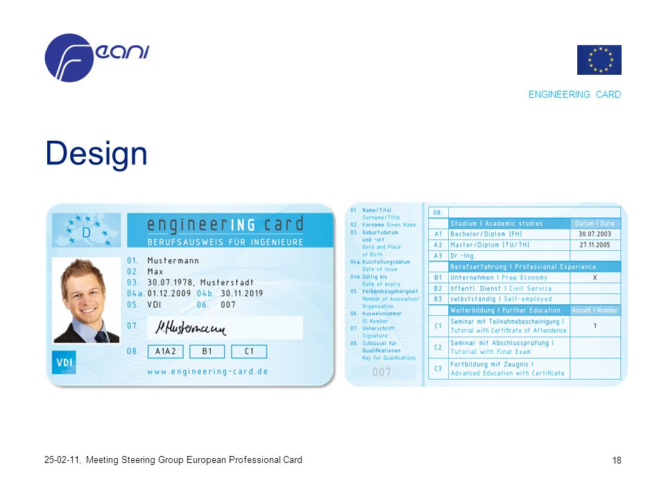 Design ENGINEERING CARD 18 25-02-11, Meeting Steering Group European Professional Card