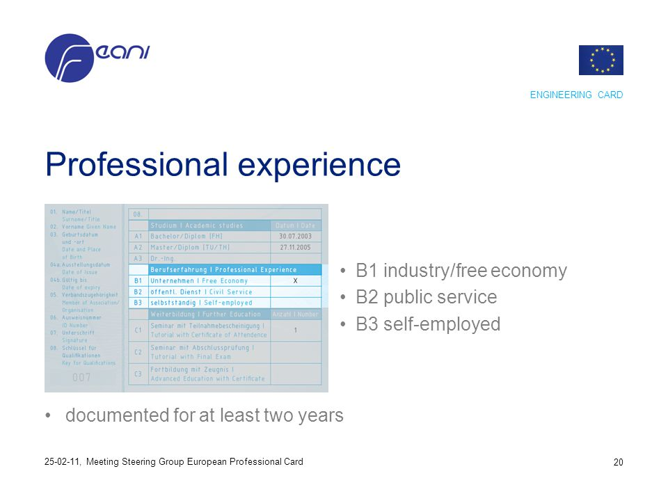 Professional experience B1 industry/free economy B2 public service B3 self-employed documented for at least two years ENGINEERING CARD 20 25-02-11, Me