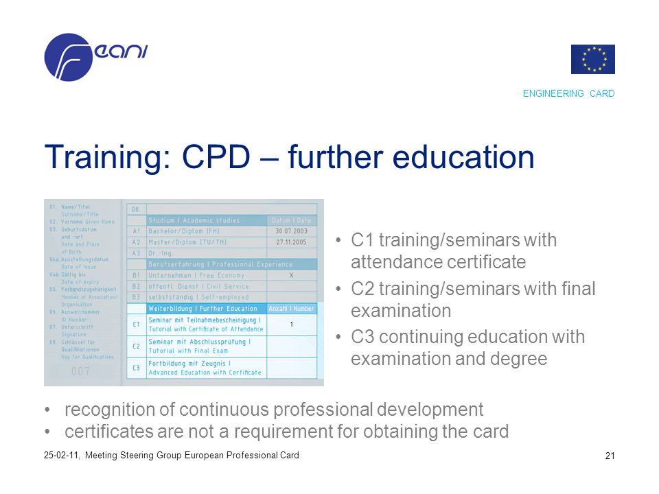 Training: CPD – further education C1 training/seminars with attendance certificate C2 training/seminars with final examination C3 continuing education