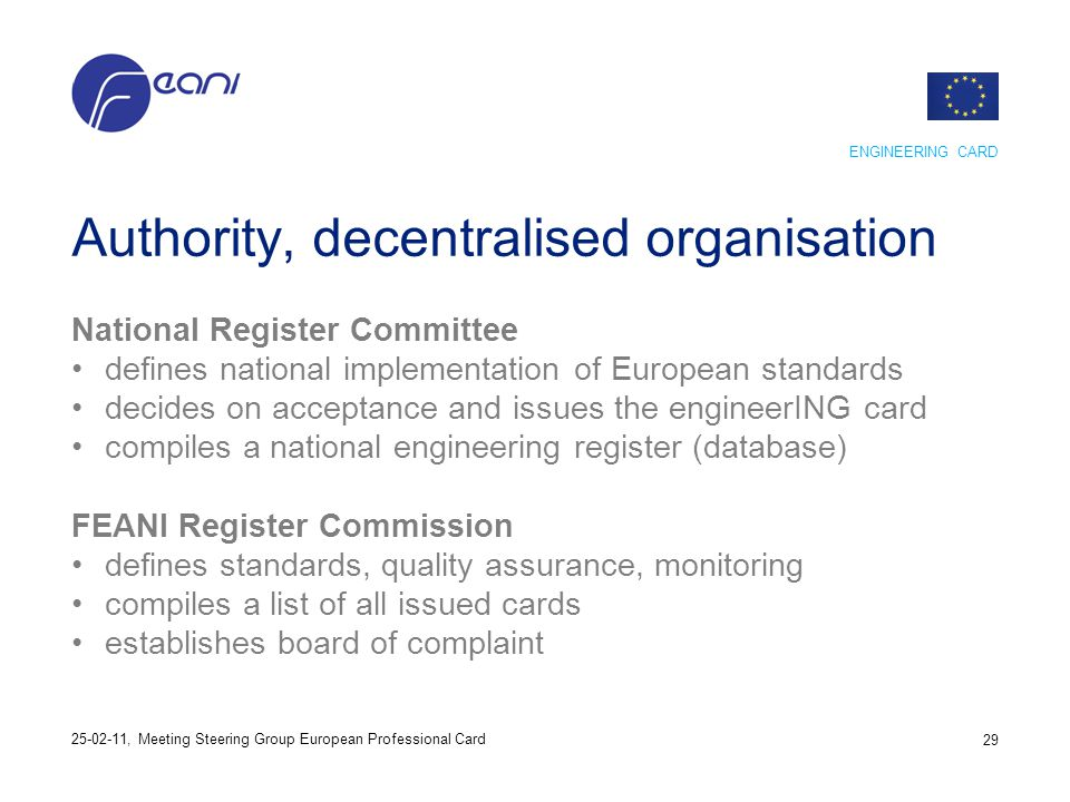 Authority, decentralised organisation National Register Committee defines national implementation of European standards decides on acceptance and issu