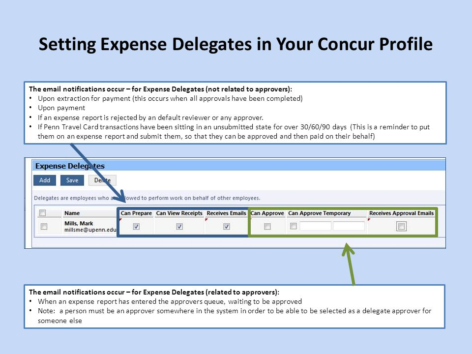 Setting Expense Delegates in Your Concur Profile The email notifications occur – for Expense Delegates (related to approvers): When an expense report