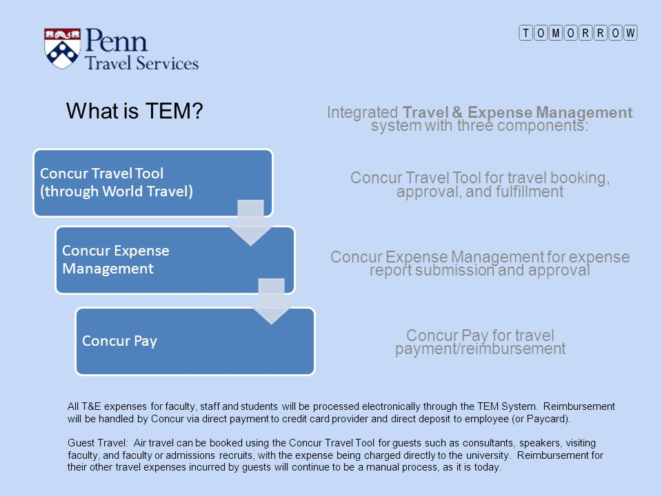 What is TEM? Concur Travel Tool (through World Travel) Concur Expense Management Concur Pay Integrated Travel & Expense Management system with three c