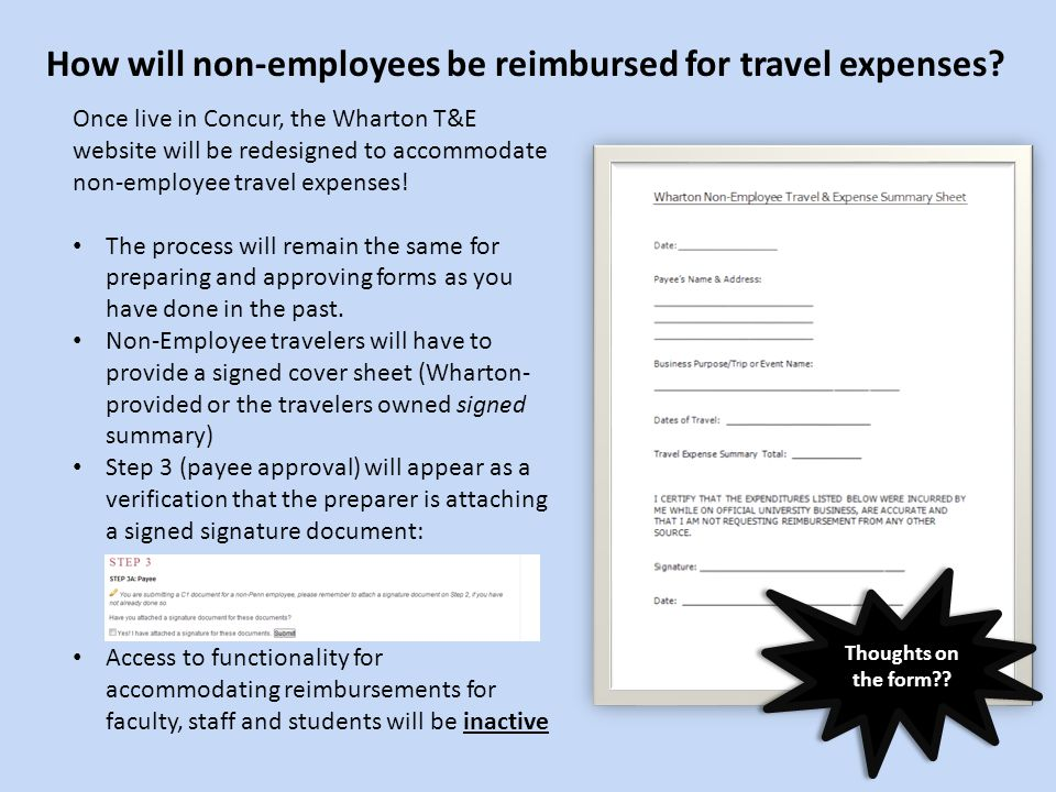 Once live in Concur, the Wharton T&E website will be redesigned to accommodate non-employee travel expenses! The process will remain the same for prep