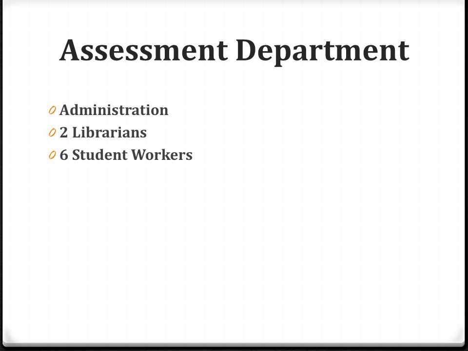 Assessment Department 0 Administration 0 2 Librarians 0 6 Student Workers