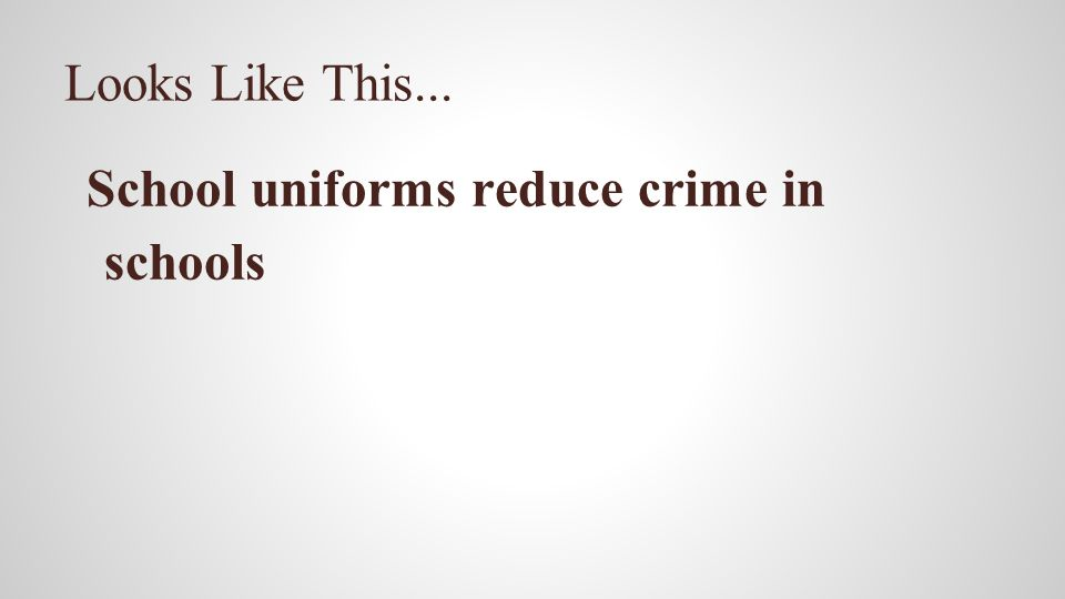 Looks Like This... School uniforms reduce crime in schools
