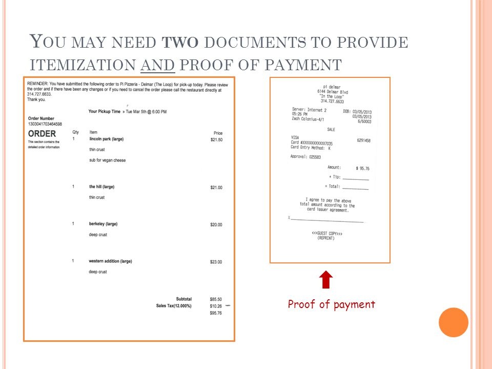 Y OU MAY NEED TWO DOCUMENTS TO PROVIDE ITEMIZATION AND PROOF OF PAYMENT Proof of payment