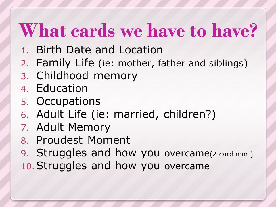 What cards we have to have.Continued… 11. What famous for 12.
