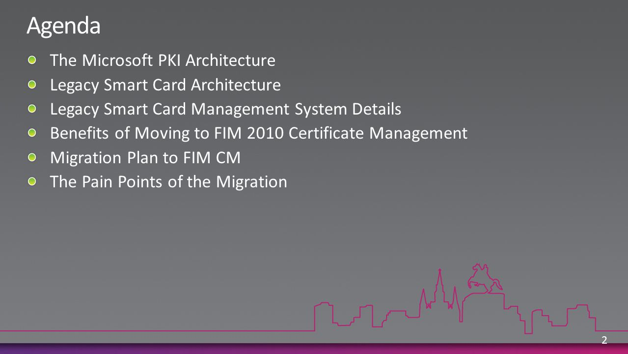 User added to MS-Smartcard-LogonOnly Or MS-Smartcard-LogonandEncrypt (FIM 2010 will ensure user only a member of one group) User visits DIO and smart card printed in Lenel User has existing smartcard .