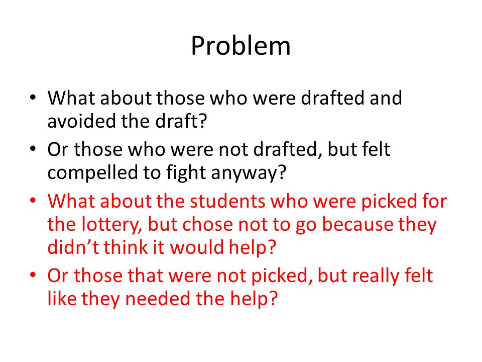 Problem What about those who were drafted and avoided the draft? Or those who were not drafted, but felt compelled to fight anyway? What about the stu