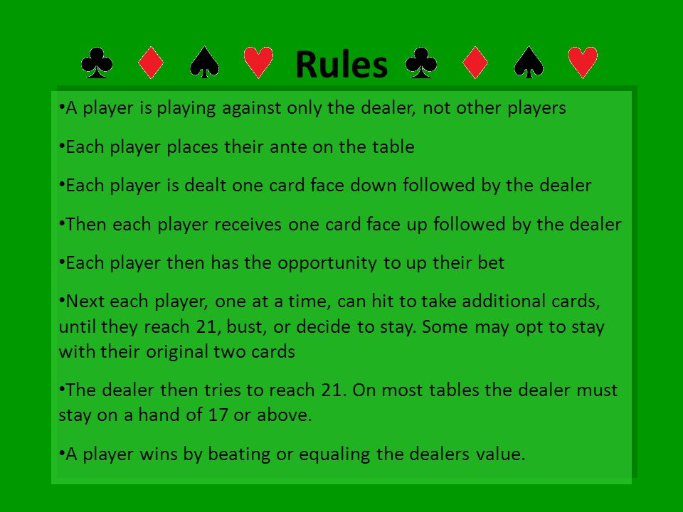 Rules A player is playing against only the dealer, not other players Each player places their ante on the table Each player is dealt one card face dow