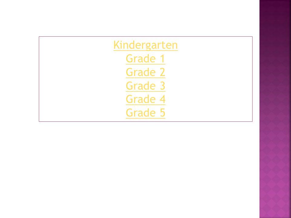 Kindergarten Grade 1 Grade 2 Grade 3 Grade 4 Grade 5