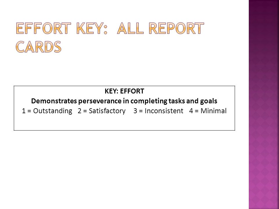 KEY: EFFORT Demonstrates perseverance in completing tasks and goals 1 = Outstanding2 = Satisfactory3 = Inconsistent4 = Minimal