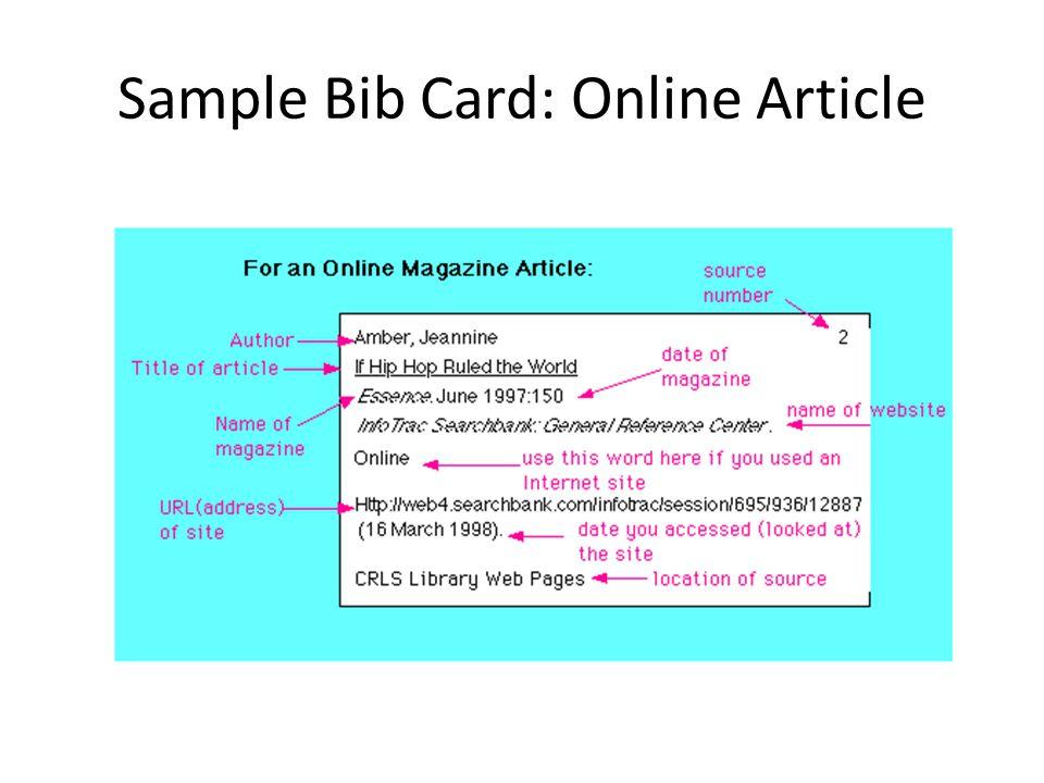 Sample Bib Card: Online Article