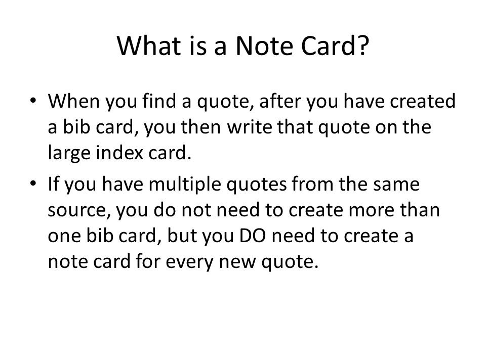 What is a Note Card.