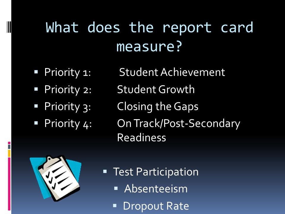 What does the report card measure.