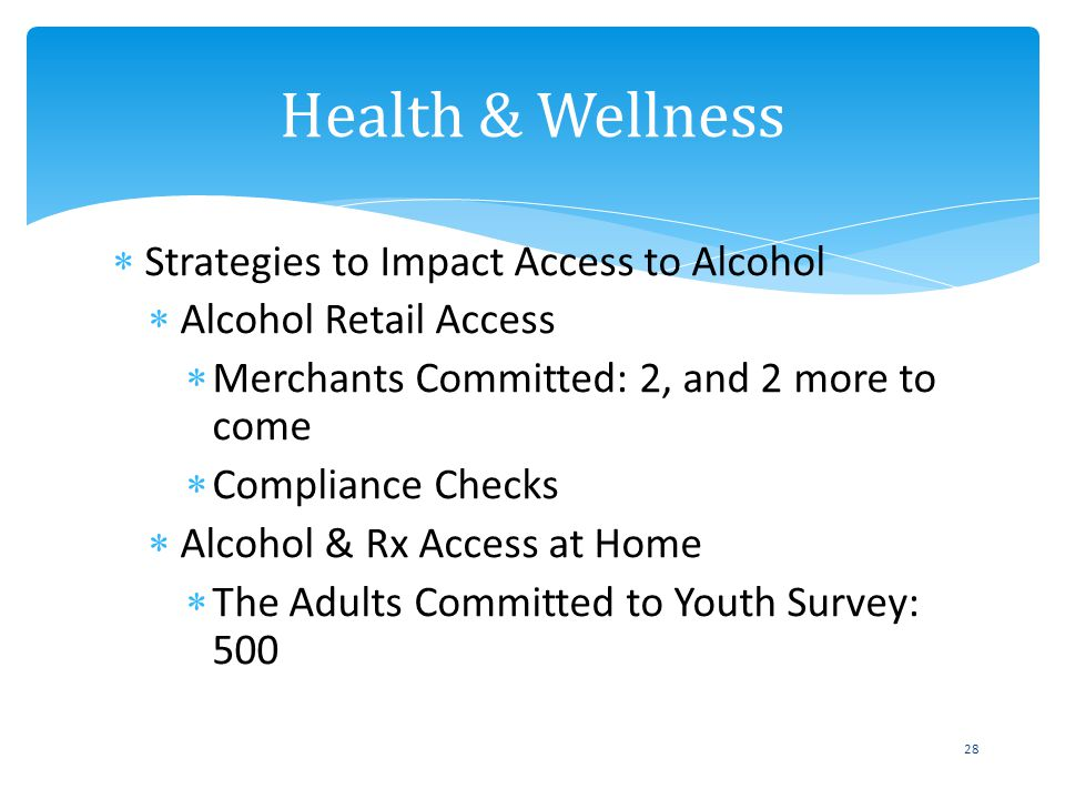 Strategies to Impact Access to Alcohol Alcohol Retail Access Merchants Committed: 2, and 2 more to come Compliance Checks Alcohol & Rx Access at Home The Adults Committed to Youth Survey: 500 Health & Wellness 28