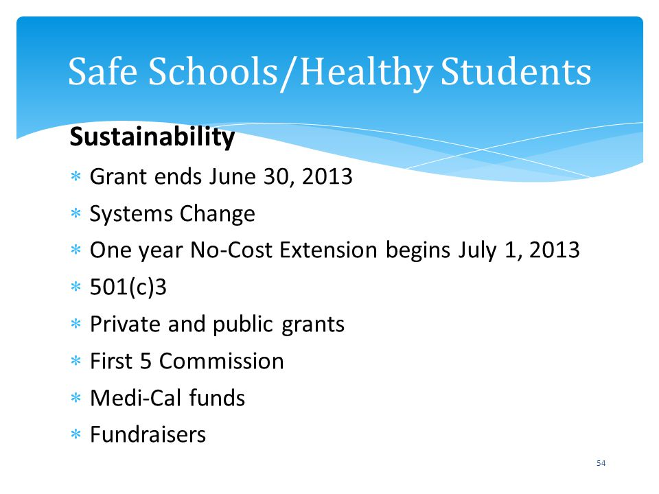 Grant ends June 30, 2013 Systems Change One year No-Cost Extension begins July 1, 2013 501(c)3 Private and public grants First 5 Commission Medi-Cal f