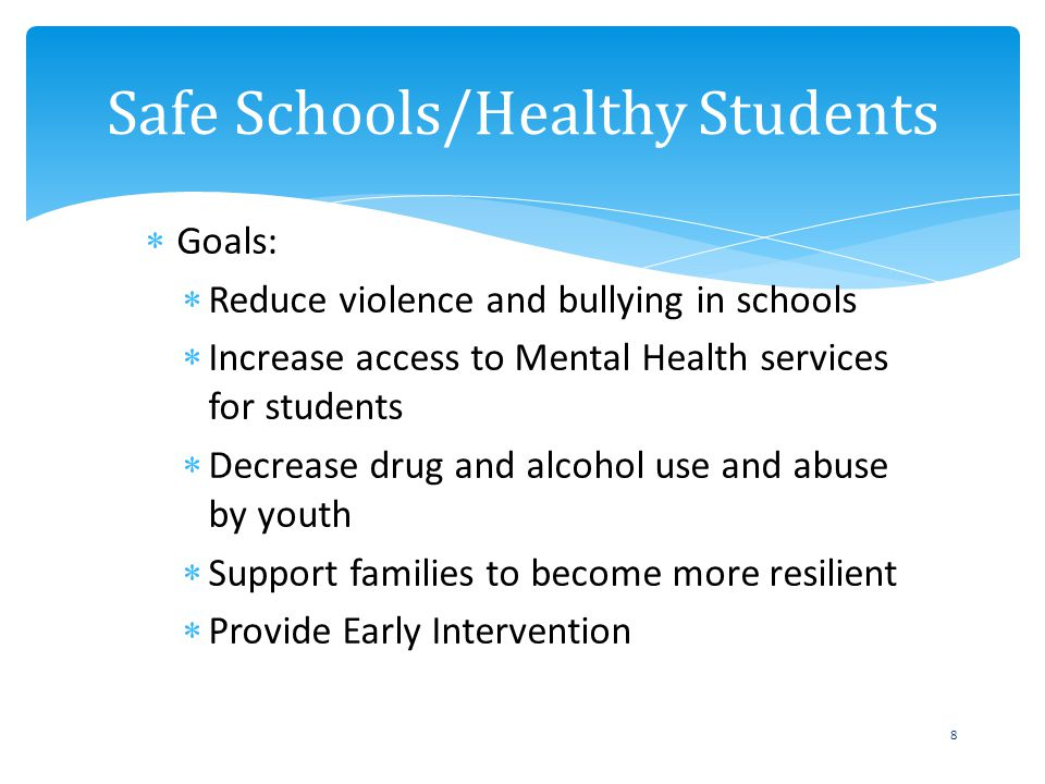 Goals: Reduce violence and bullying in schools Increase access to Mental Health services for students Decrease drug and alcohol use and abuse by youth Support families to become more resilient Provide Early Intervention Safe Schools/Healthy Students 8