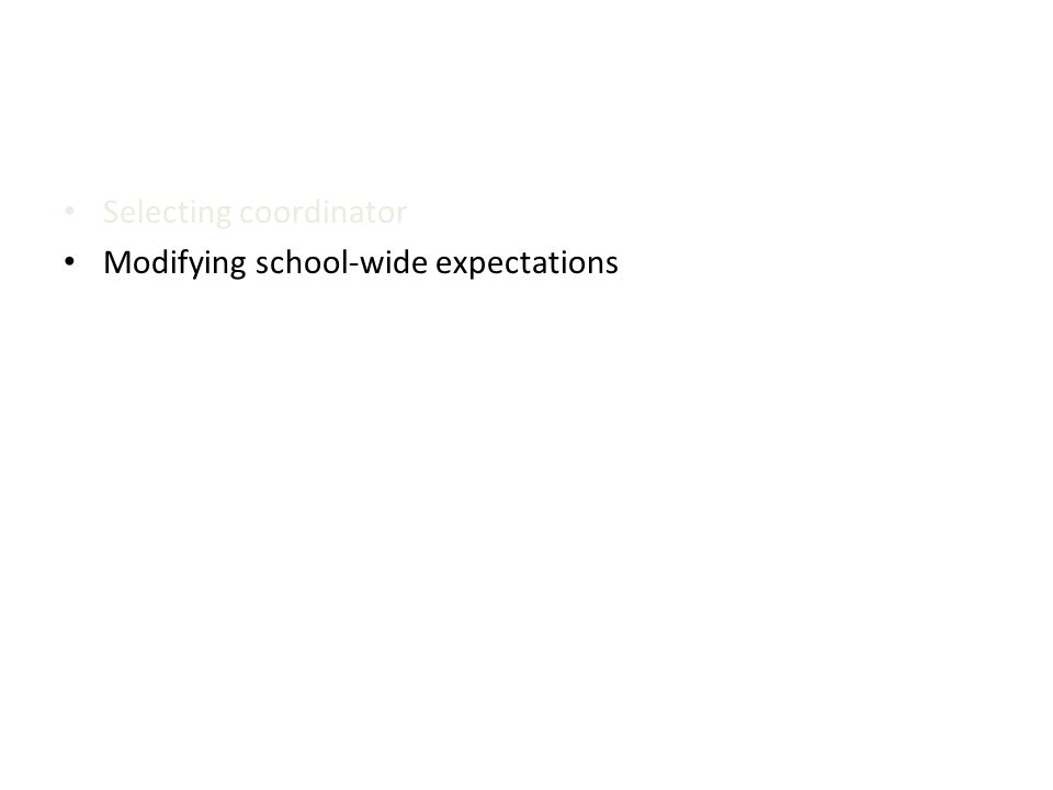 Selecting coordinator Modifying school-wide expectations
