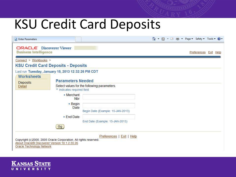 KSU Credit Card Deposits