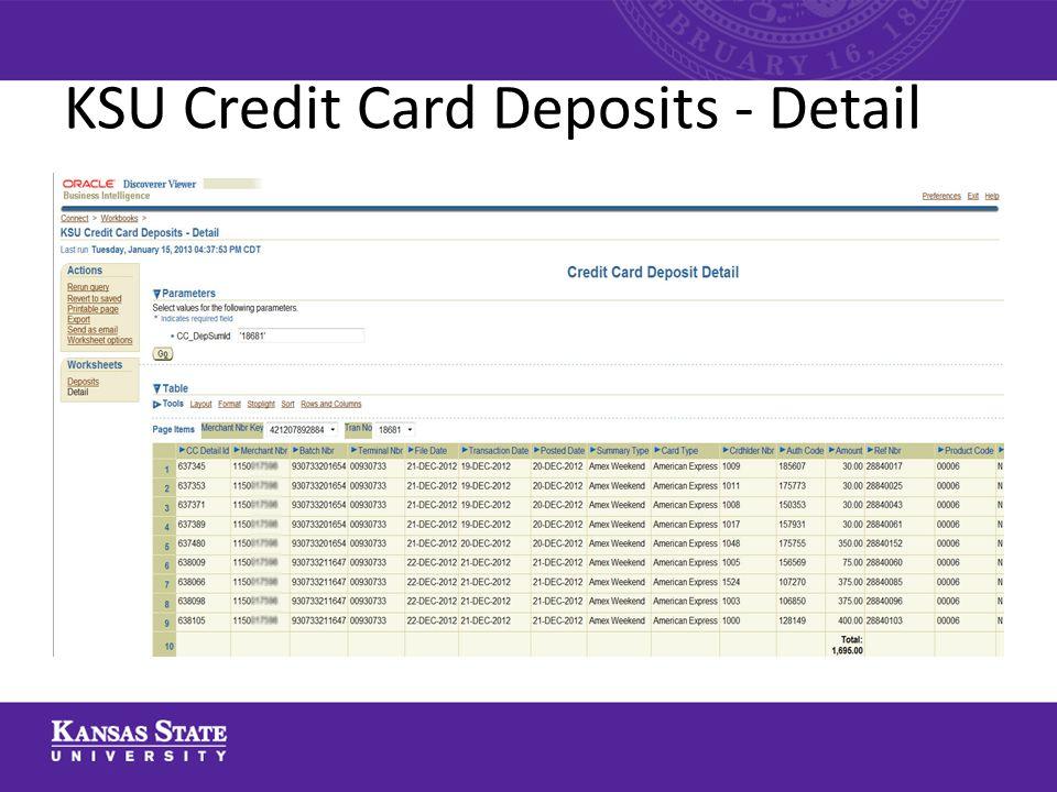 KSU Credit Card Deposits - Detail