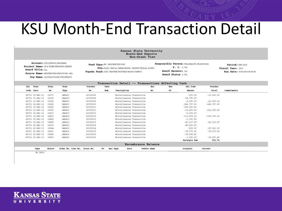 KSU Month-End Transaction Detail