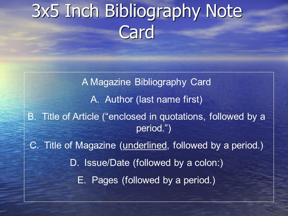 3x5 Inch Bibliography Note Card Magazine Example Hoover, Eric.