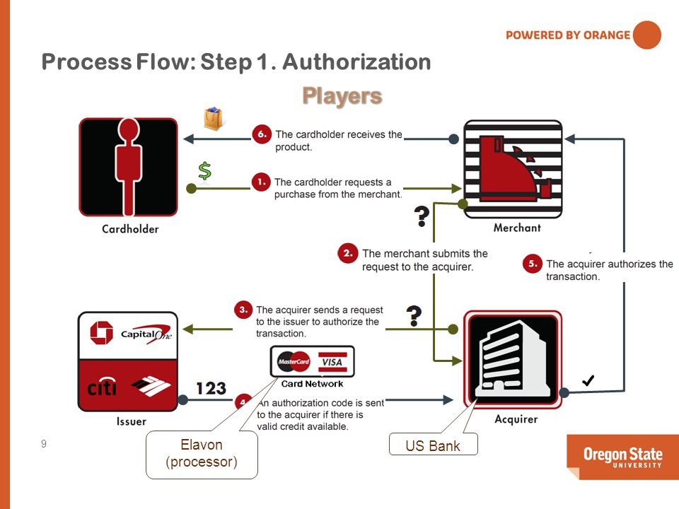 Process Flow: Step 1. Authorization US Bank Elavon (processor) 9