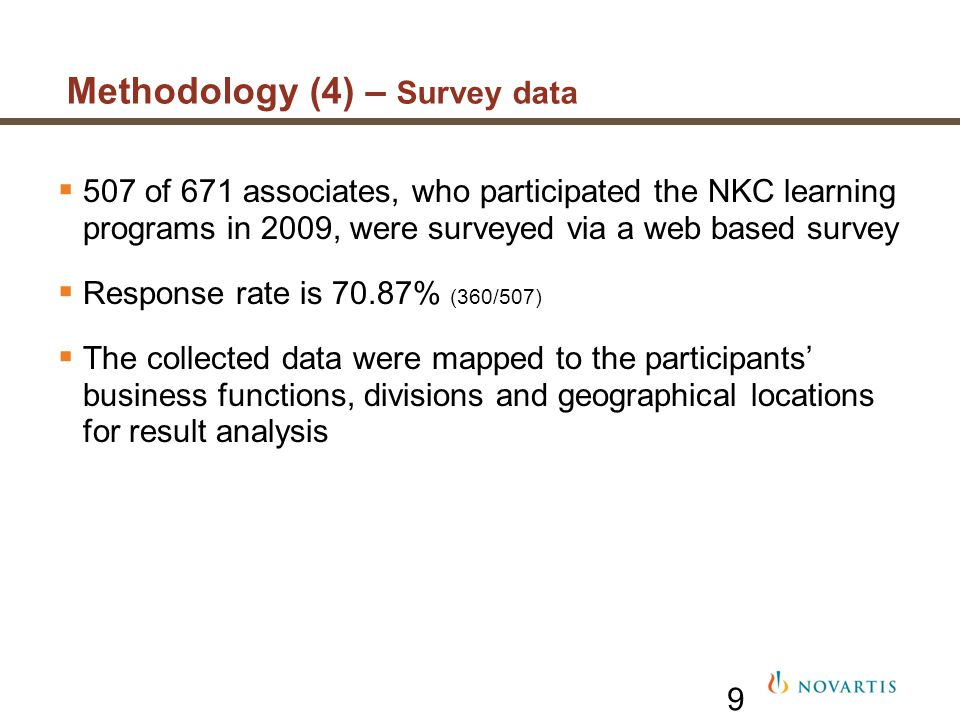 9 507 of 671 associates, who participated the NKC learning programs in 2009, were surveyed via a web based survey Response rate is 70.87% (360/507) Th