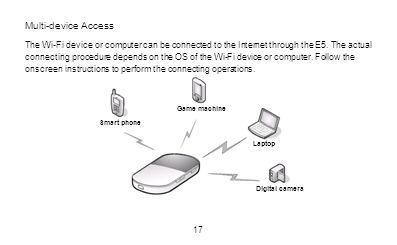 Multi-device Access The Wi-Fi device or computer can be connected to the Internet through the E5. The actual connecting procedure depends on the OS of